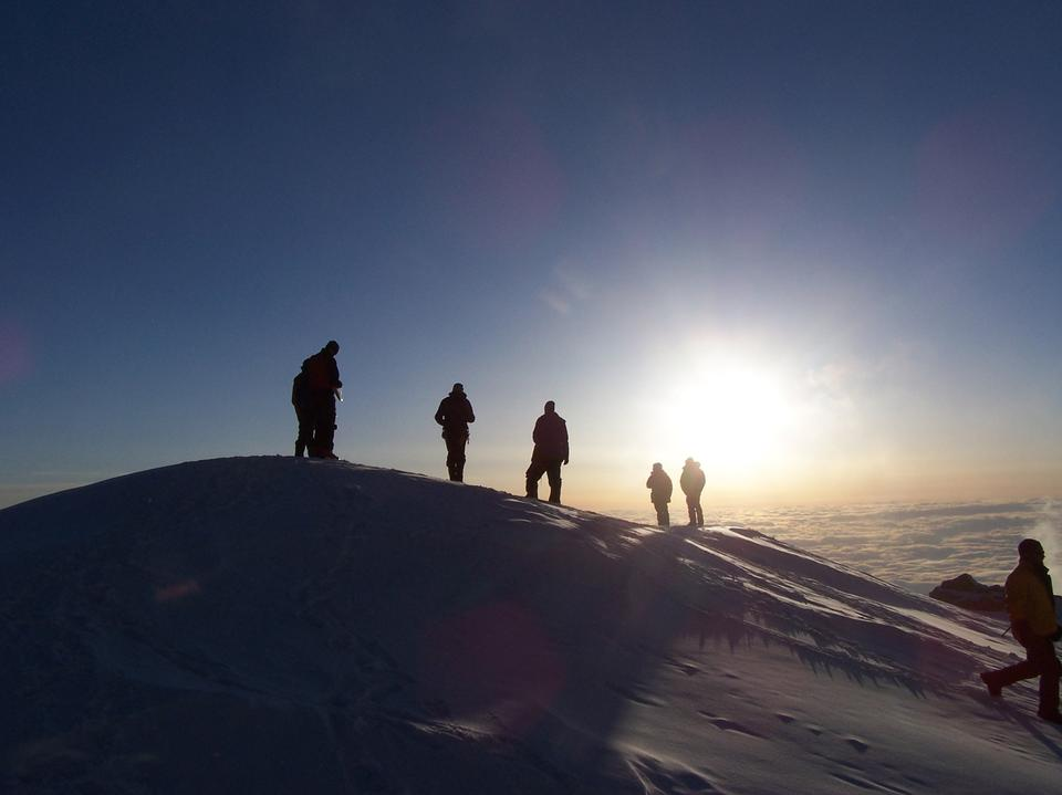 Free Climbers on Mt. McKinley Sunset