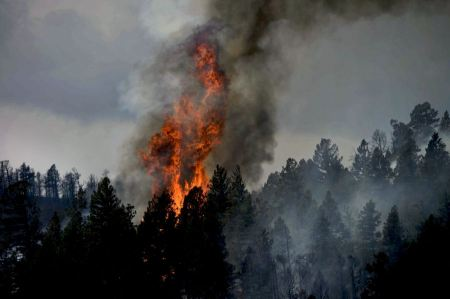 Free Wildfire smoke rises from burning mountains in Colorado