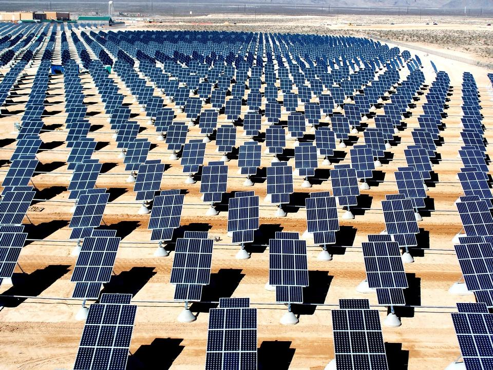 Free View of solar panels in the Desert