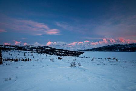 Free Evening Alpenglow from Wonder Lake