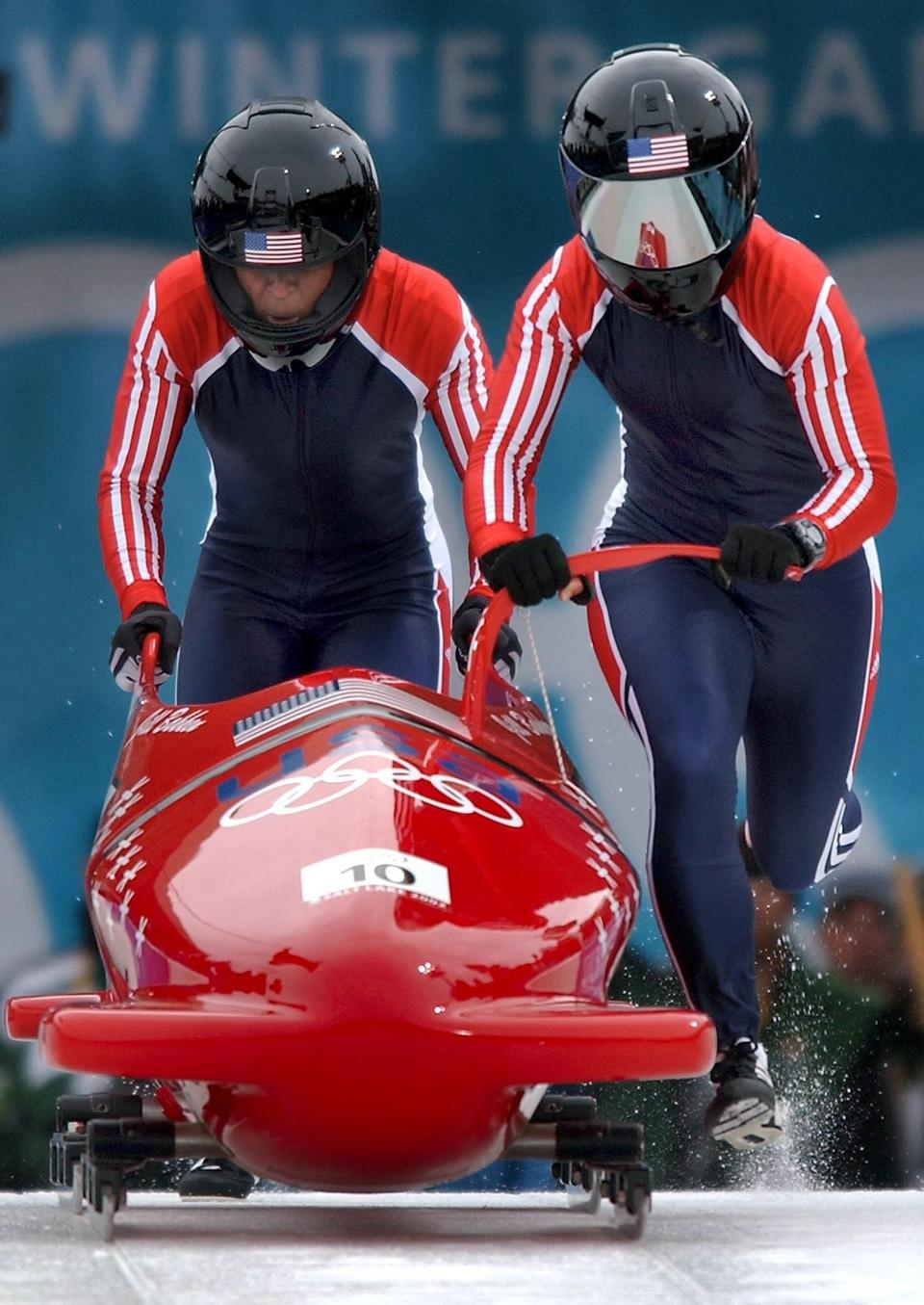 Free Two female on bobsleigh winter