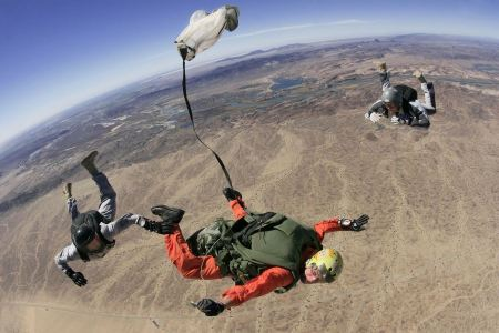 Free Skydive parachutists jump out of an airplane.