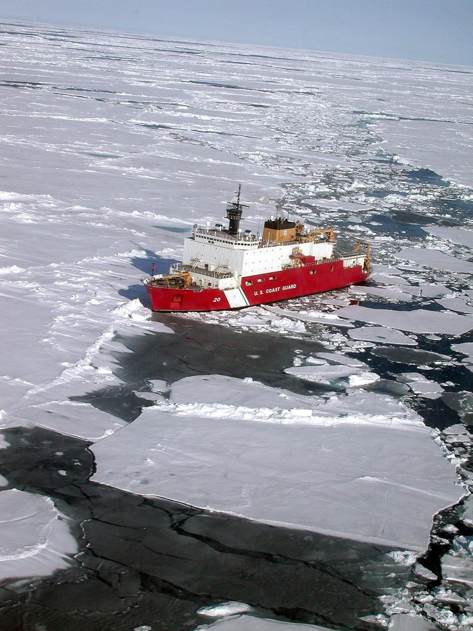 Free Icebreaker ship on the ice in the sea.