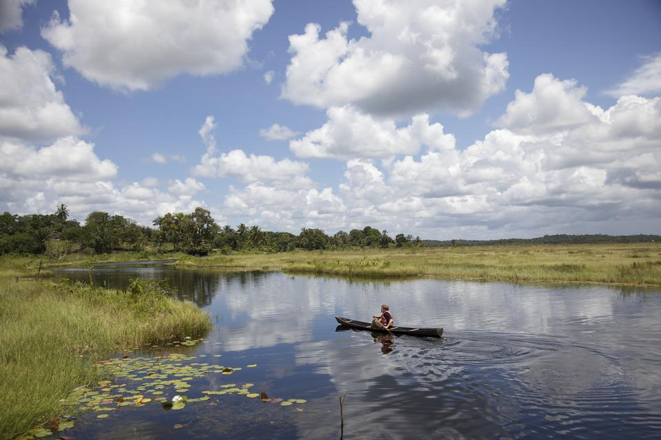 Free canoe on a Guyana lake
