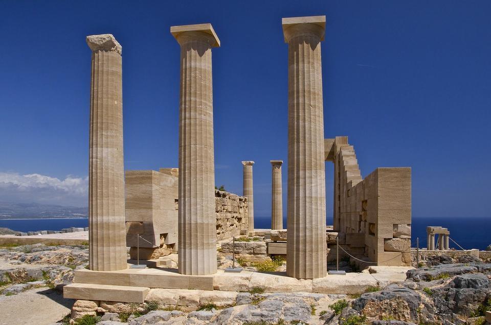 Free ancient columns at Corinth, Greece