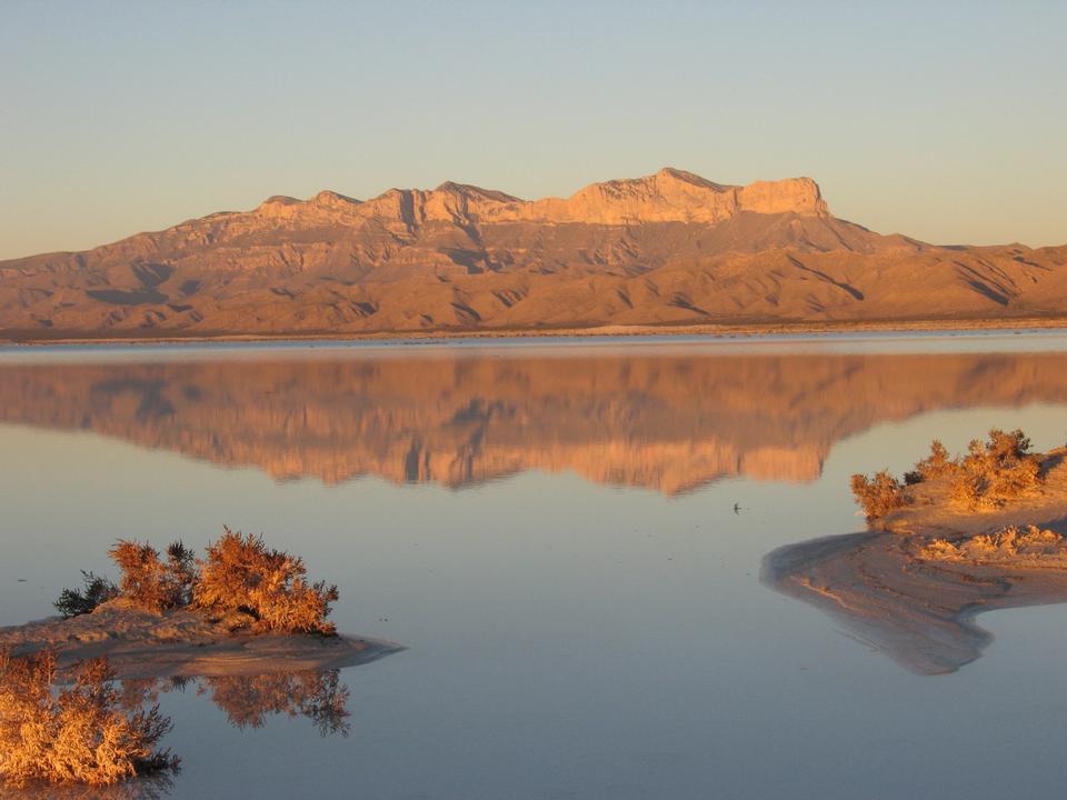 Free Guadalupe Mountain vista across the salt lake.