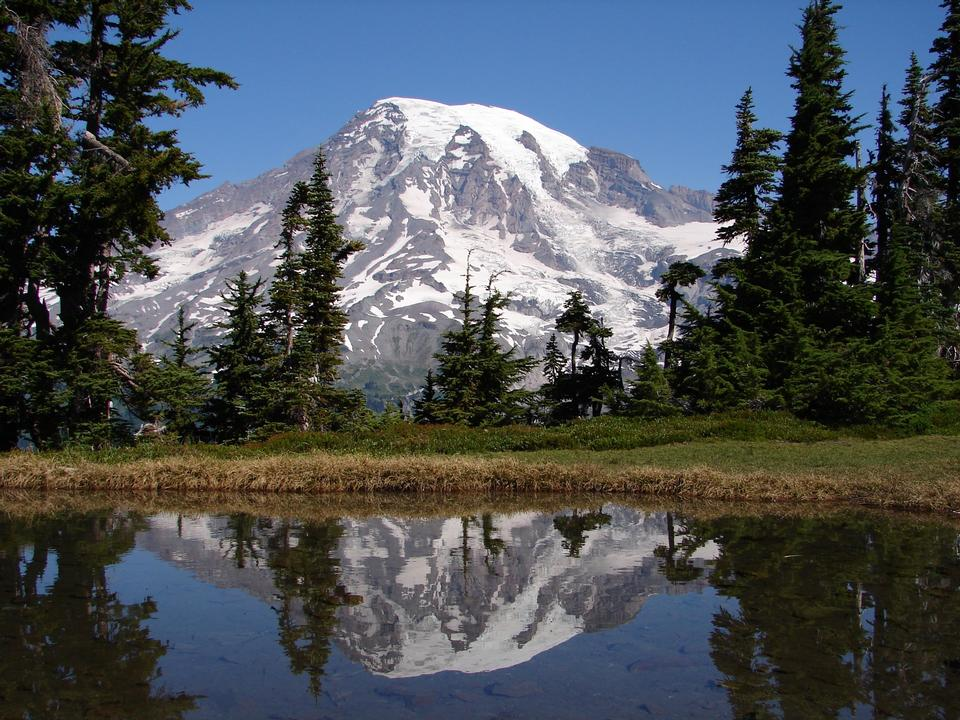 Free Mount Rainier reflects in a small lake at the top of the Tatoosh