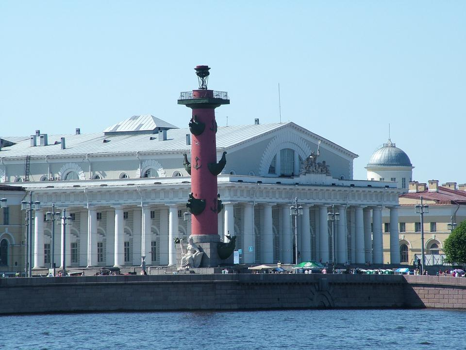 Free Lighthouse on Vasilievsky Island. St.Petersburg, Russia