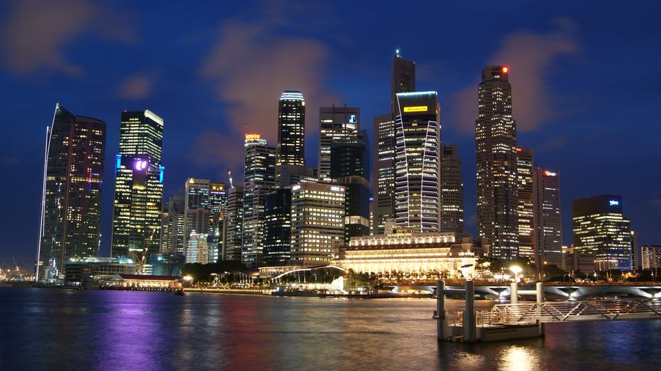 Free Singapore city skyline at night
