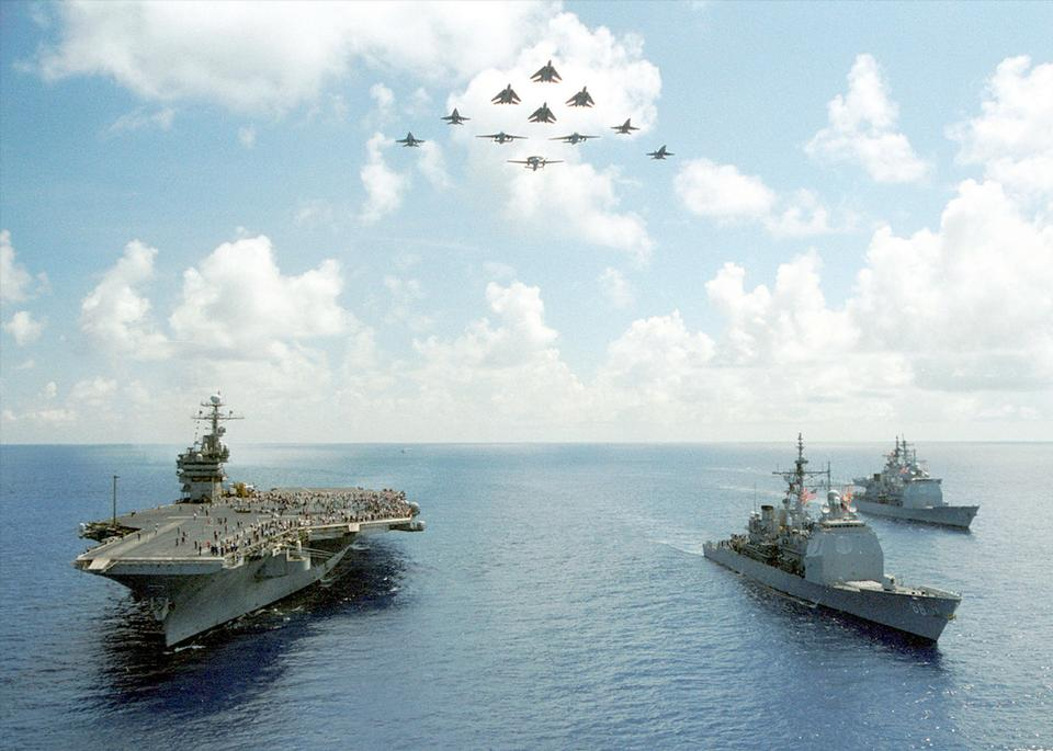 Free Carrier Air Wing Seven performs a fly over in formation