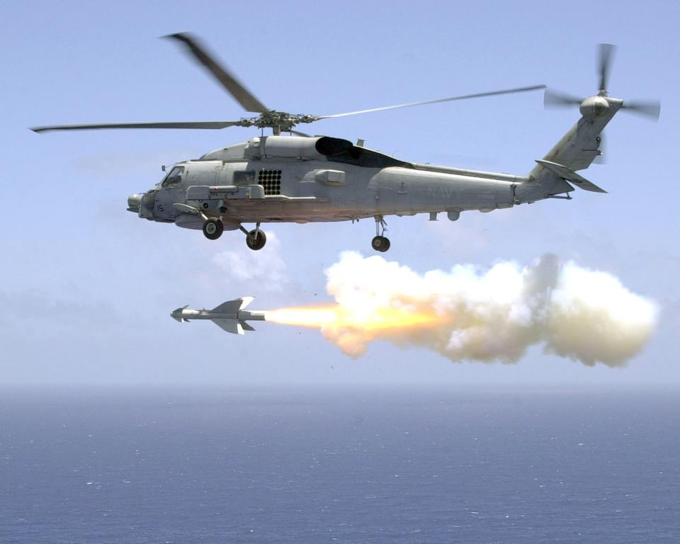 Free Helicopter Antisubmarine Light Five One fires an AGM-119