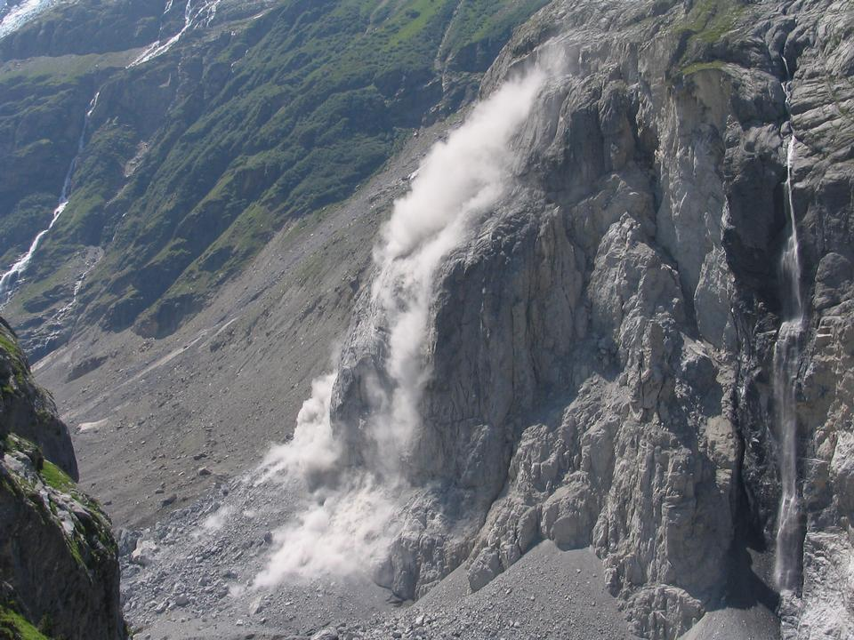 Free Rockfall onto the Lower Grindelwald Glacier valley