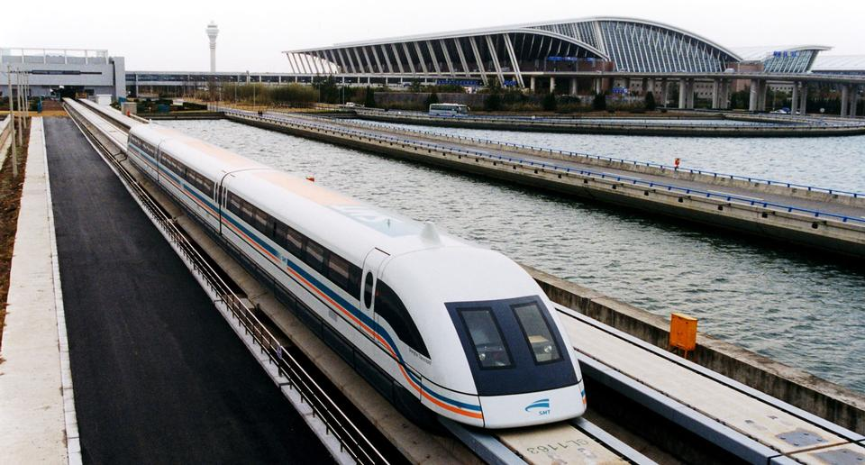 Free A meglev train is coming out of the Pudong International Airport