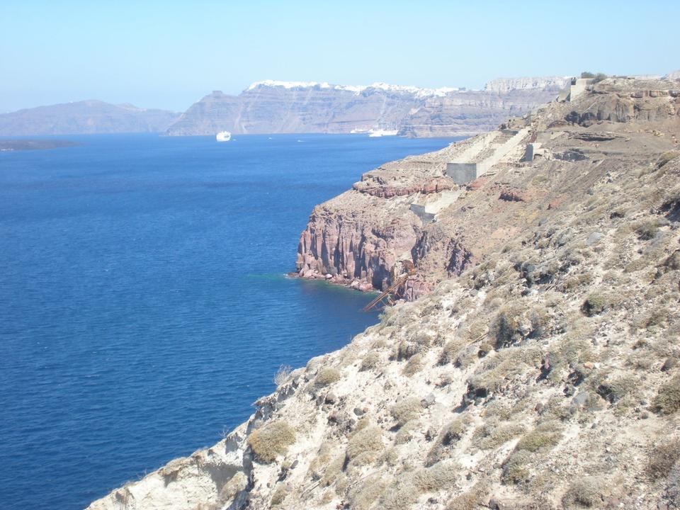 Free View to the sea  of Santorini island in Greece