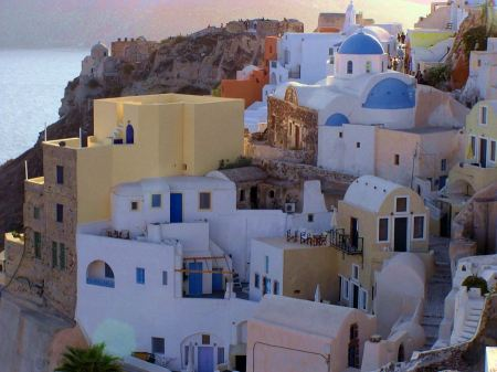 Free white-blue Santorini - view of caldera with domes