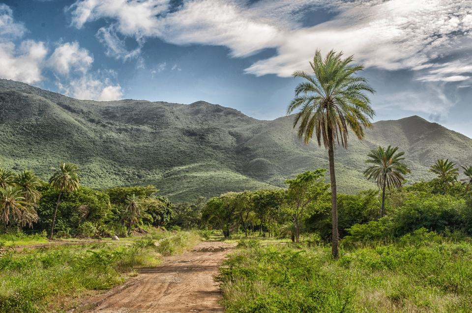 Free Mountain road in Africa, including blue sky