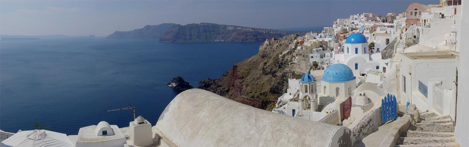 Free panorama of Santorini and Thera caldera