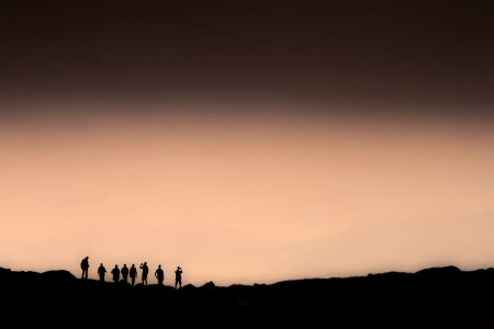 Free Group of people on top of a mountain