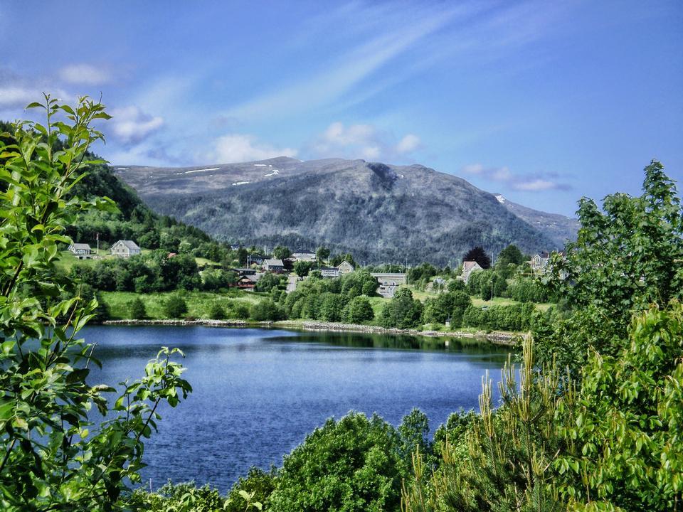 Free Spring mountain village landscape