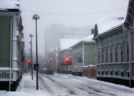 Free Night town in winter Oulu Finland