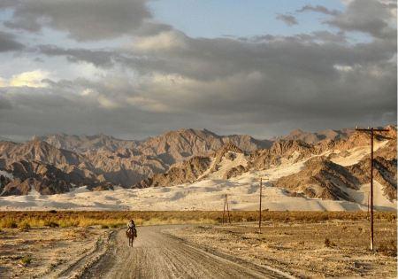 Free horsemen riding in road Tinogasta  Argentina