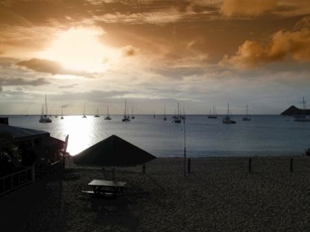 Free tropical sunset with golden sky Eastern Caribbean