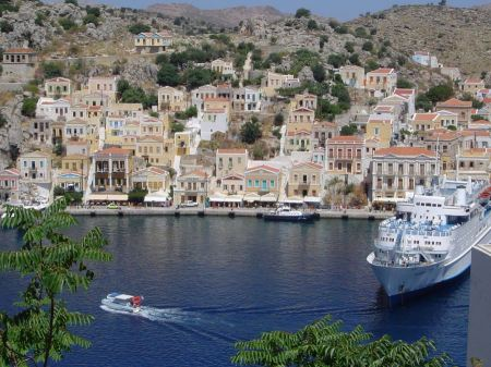 Free he town of Gialos on Symi island in Greece