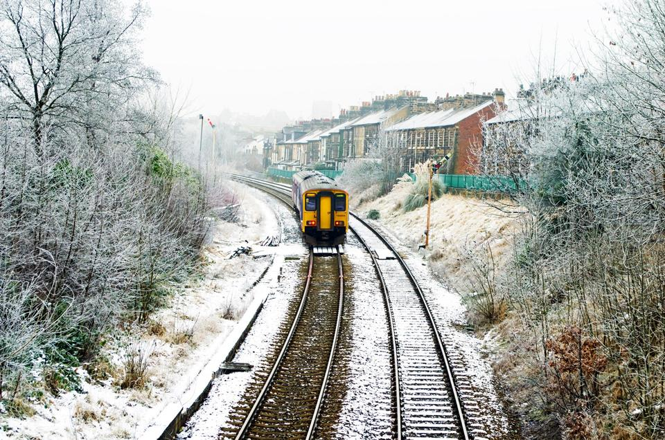 Free Photos: The running train covered snow | publicdomain