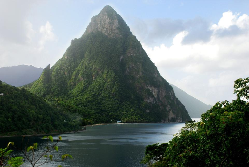 Free Twin piton peaks and volcano mountains