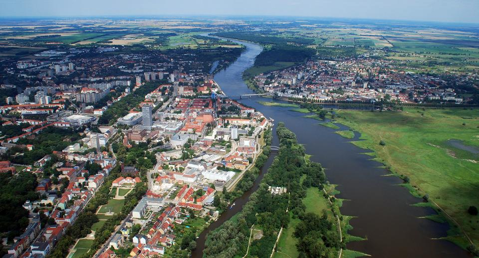 Free Aerial view of Frankfurt and Słubice