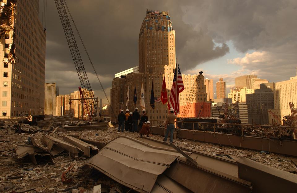 Free Debris on surrounding roofs at the site of the World Trade Center