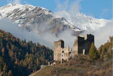 Free Tschanuff castle Piz Spadla mountain, in Switzerland
