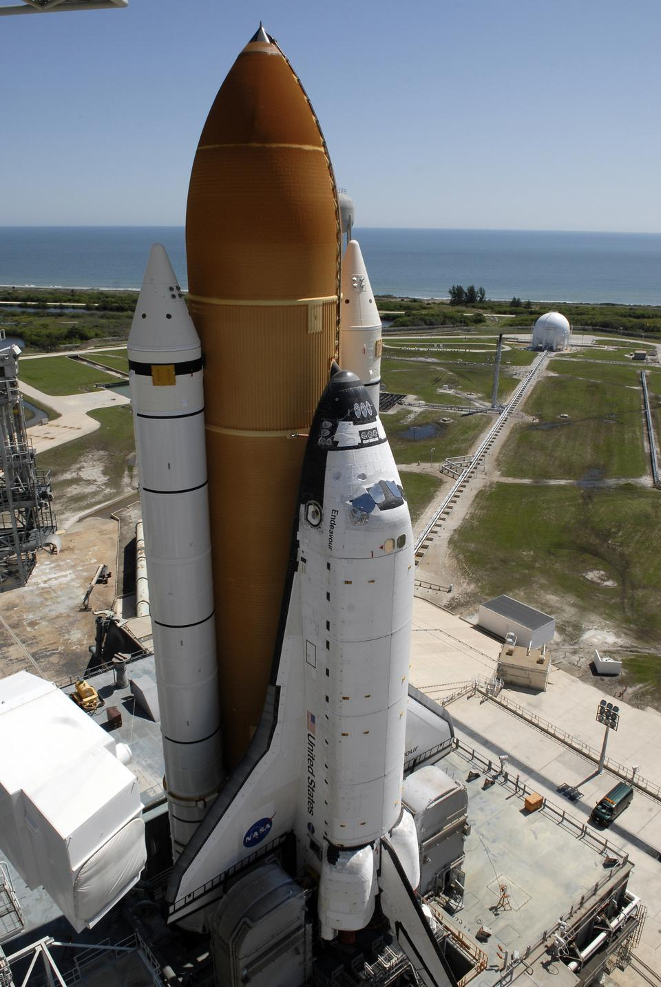 Free Space Shuttle Endeavour on launch pad