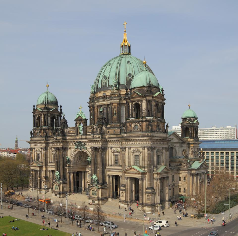 Free Berlin Cathedral. Berliner Dom, Germany. Street view