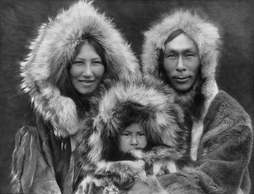 Free Eskimo mother, father, and son  in Noatak, Alaska