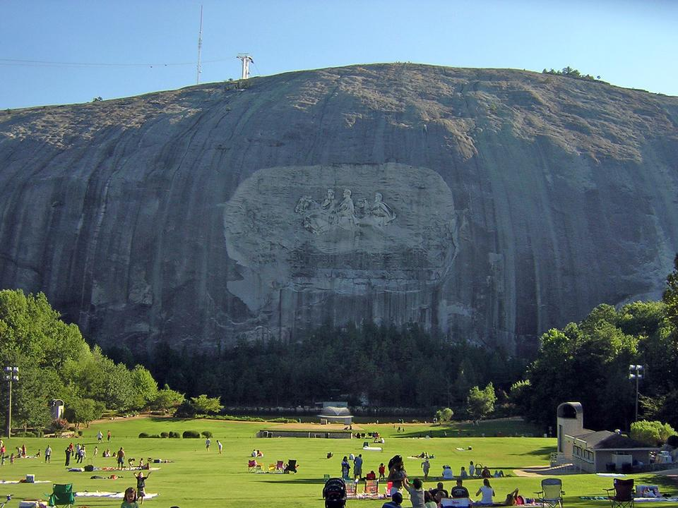 Free Stone mountain and carving with park visitors