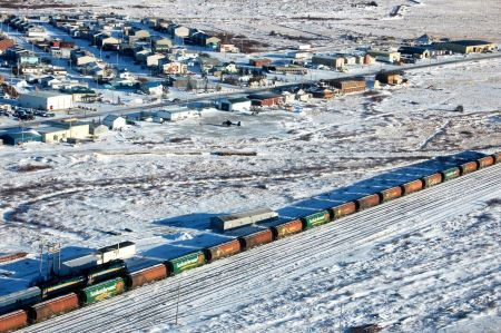 Free Snow-covered railroad Churchill Manitoba Canada