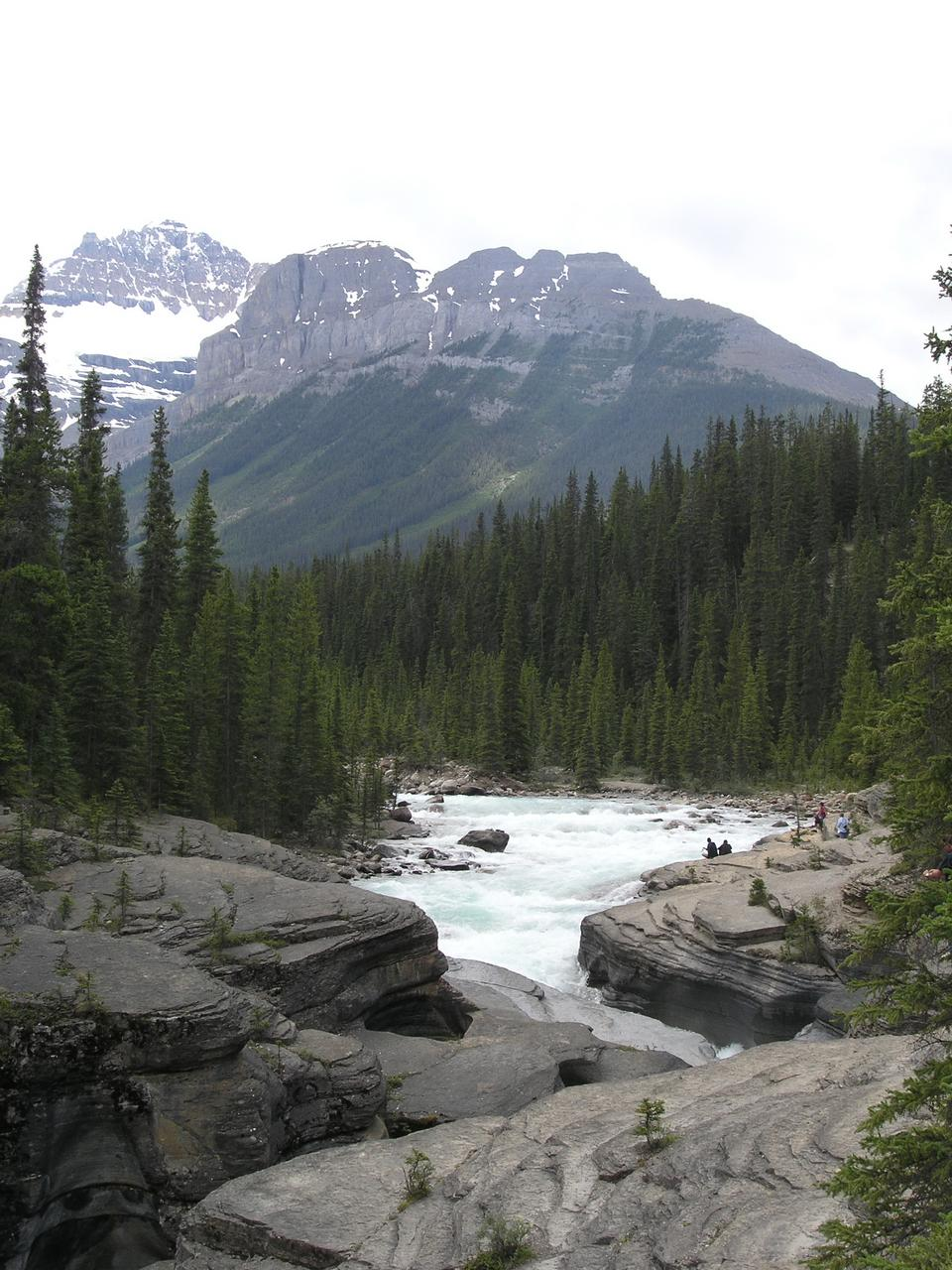 Free Athabaska river Rocky mountains landscape.Jasper National Park