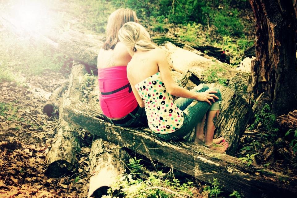 Free Photos: Women sitting on wooden log in forest | peopleshot