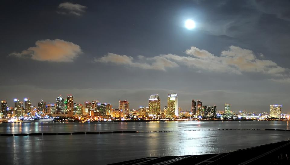 Free Night Cityscape San Diego California