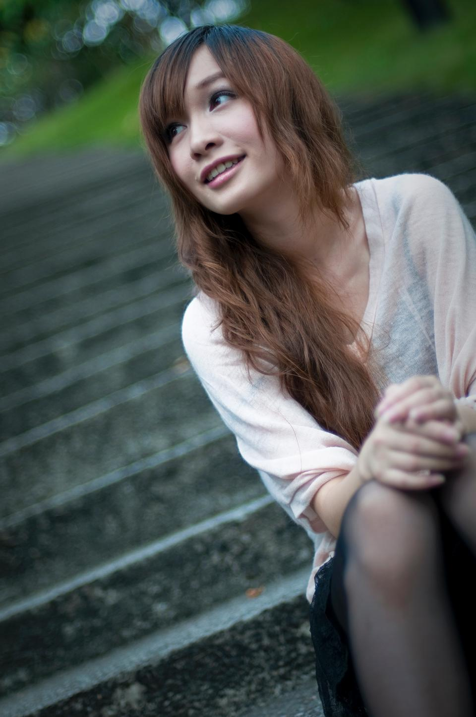Free Cute Girl Sitting On Steps Outside