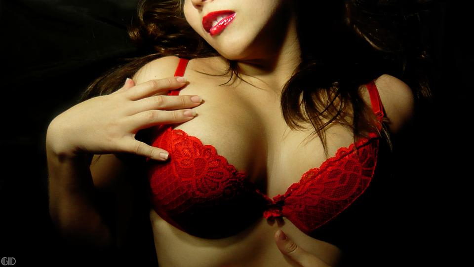 Free Close-up Portrait Of A Beautiful Woman In A Red Bra