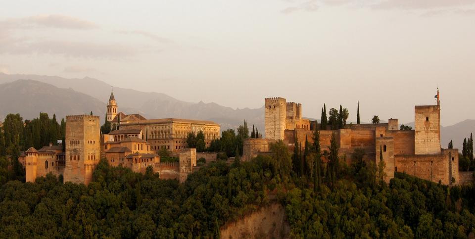 Free Alhambra Castle Building Granada Town