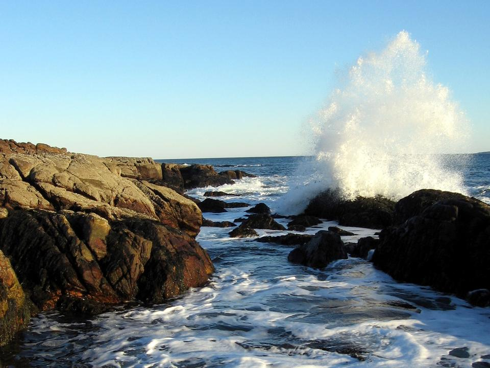 Free A wave crashes into the rocks at Ship Harbor