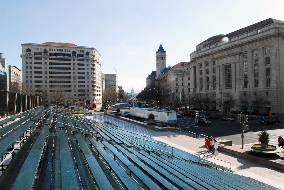 Free Inaugural Parade viewing area showing bleacher
