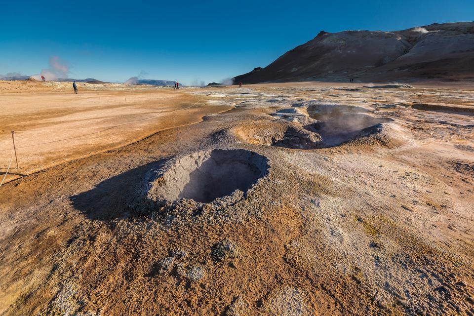 Free Volcanic bubbling mud pool Namaskaro Hverarond Iceland