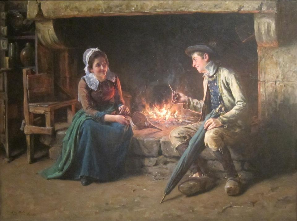 Free Chimney Corner by Henry Mosler