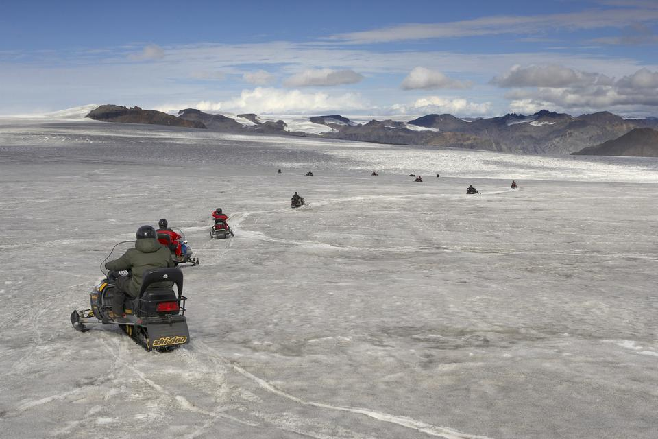 Free Snowmobiles on the Vatnajokull glacier, Iceland