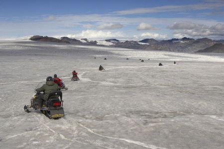 Free Snowmobiles on the Vatnajokull glacier, Iceland