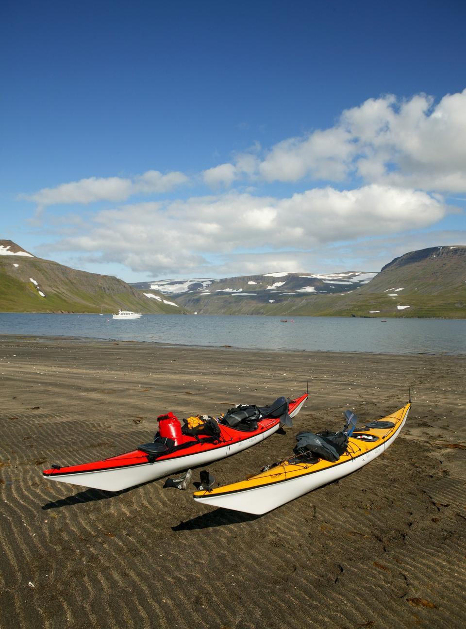 Free row of kayak on the beach